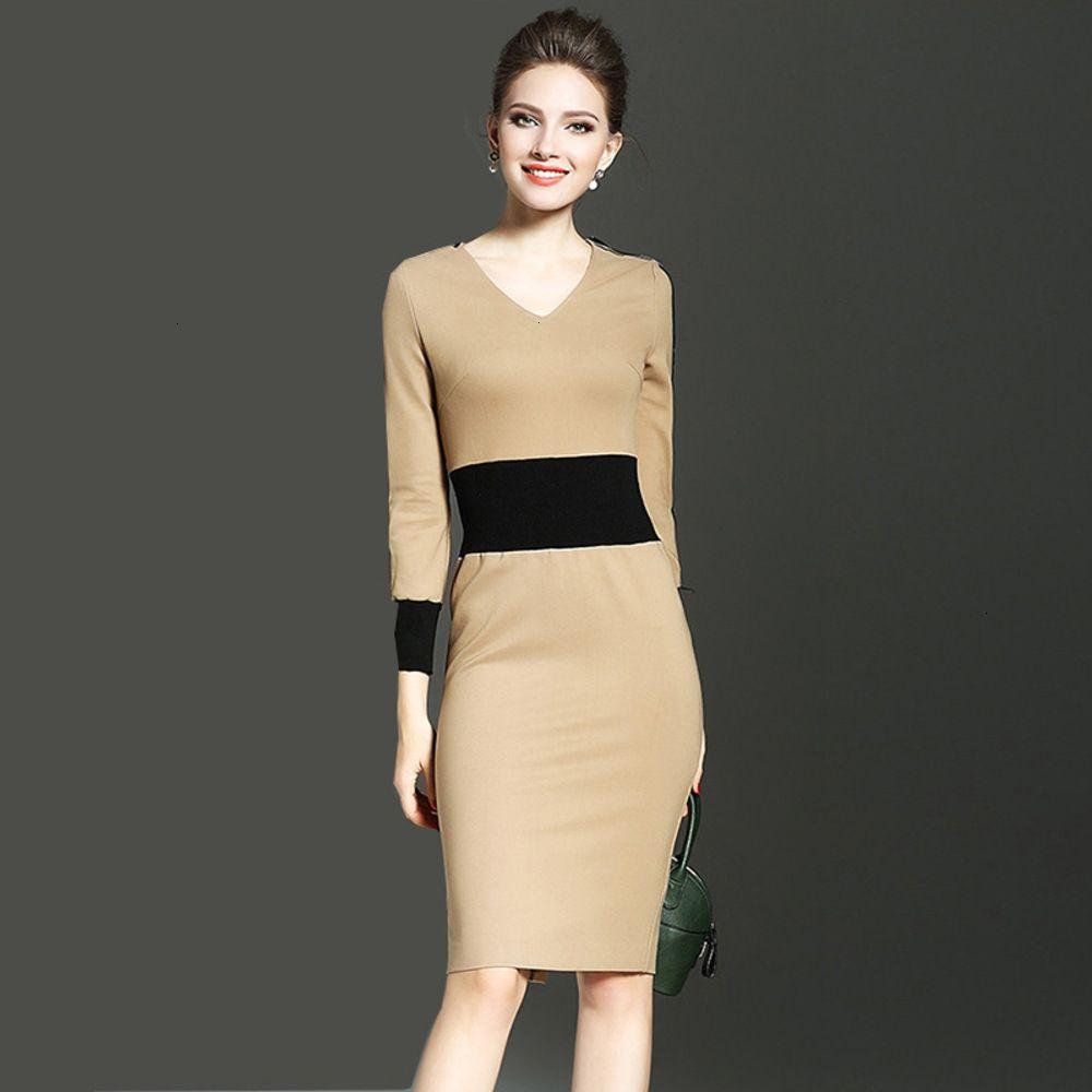 Dresses Casual fall Women's fashion hip skirt contrast stitching slim long sleeve drs