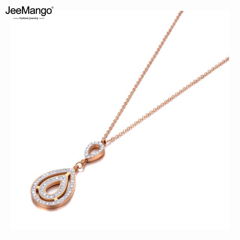 Collares colgantes Jeemango Acero inoxidable Drop Drop CZ Crystal Charm Trendy Rose Gold Goker Skker Collar para mujeres JN20120