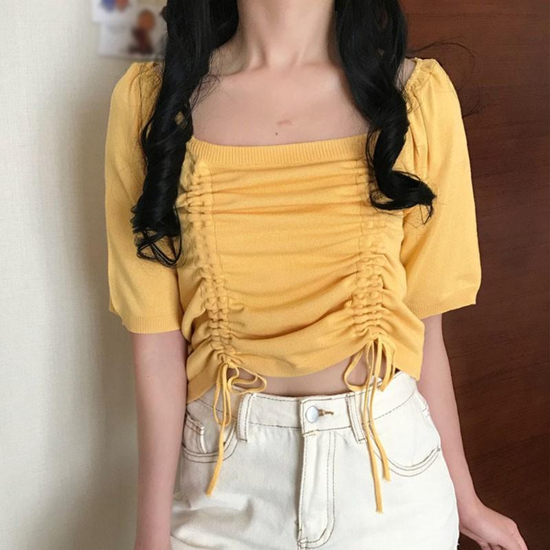 Shirt Women's T-Shirt Sleeve T Shirts Female Drawstring Knitted Tops Candy Color Square Collar Women Casual Short