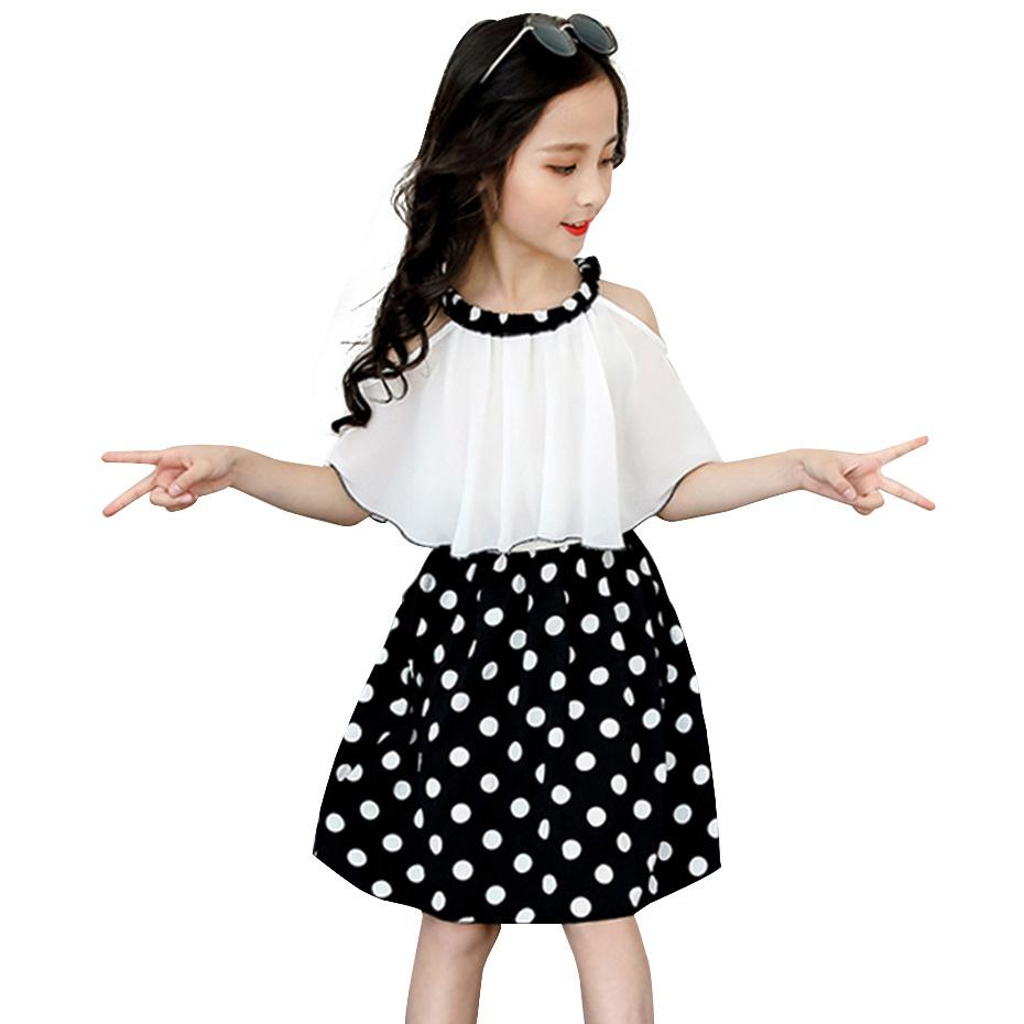 Großes Mädchen Kleider aus Shouder Sommer Dr. Mädchen Lässig Patchwork Dr. Kids Teenager-Kostüm für Mädchen 6 8 10 12 14 Jahre x0509