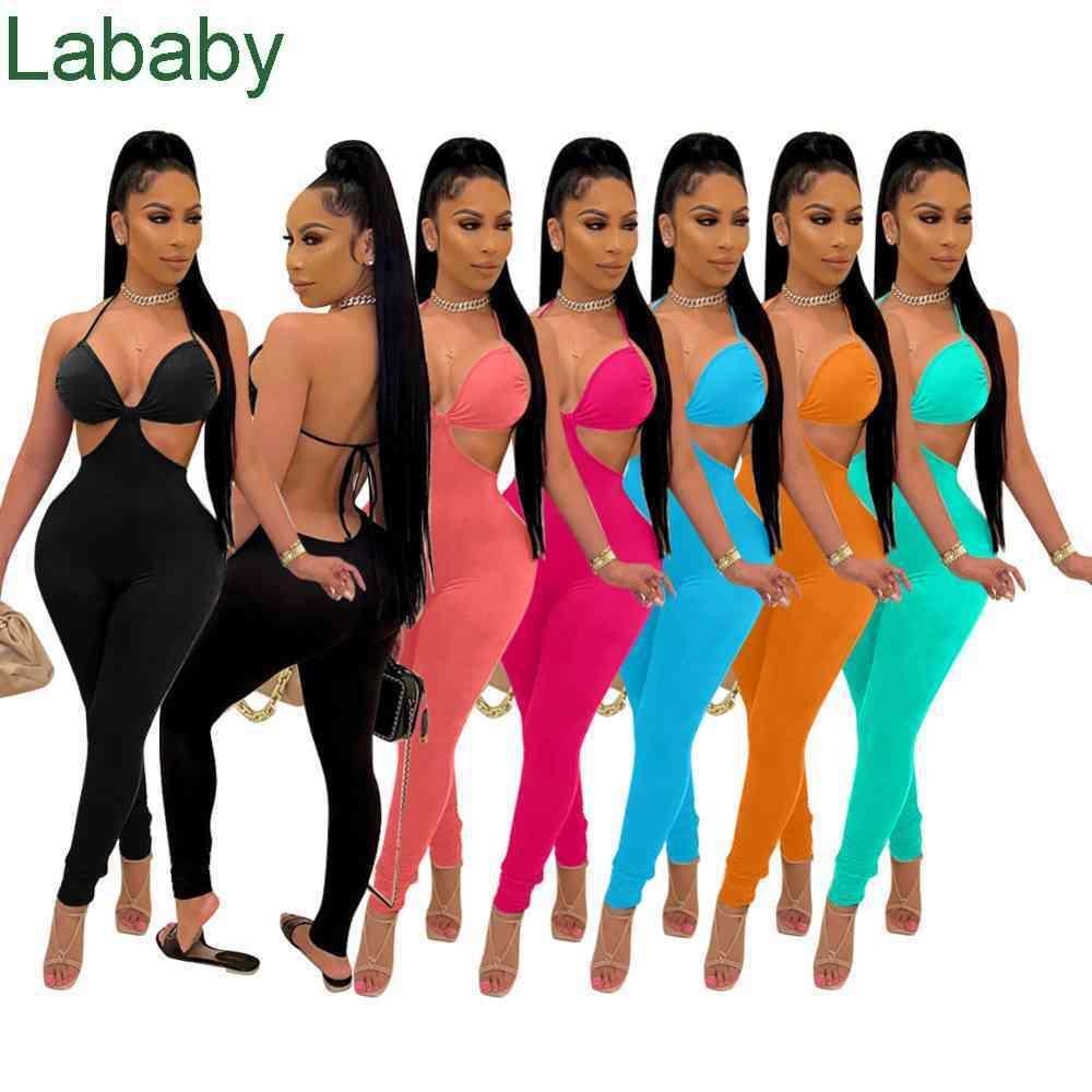 Summer Women Jumpsuits Slim Sexy Designer Solid Color Strapless Tube Top Temperament Self-cultivation Halter Rompers Sling Bra Open Back