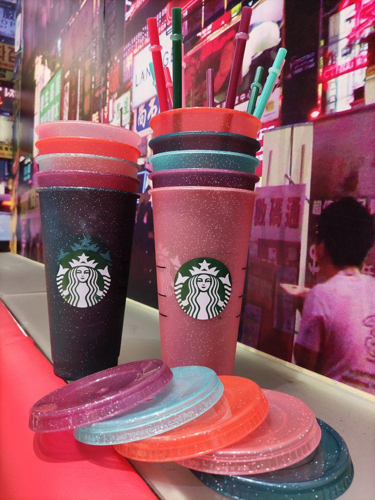 Starbucks 24oz / 710ml Tumbler en plastique Réutilisable Clear Clear Coupe Appartement Tasse Couvercle Couvercle Couvercle Tasse de paille Bardian 25pcs DHL