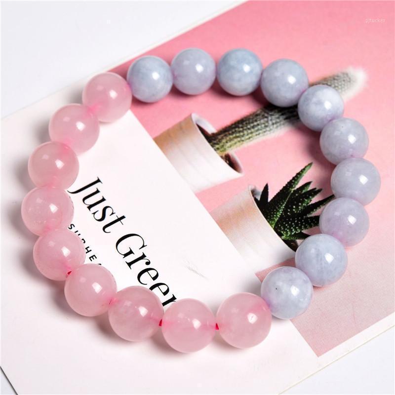 Bangle Frauen Armband Mädchen liebt Natur Rose Quarzs Blaue Jade Perle 19 cm Gute Qualität Nicht gefärbte Farbe wirklich Stein Schmuck1