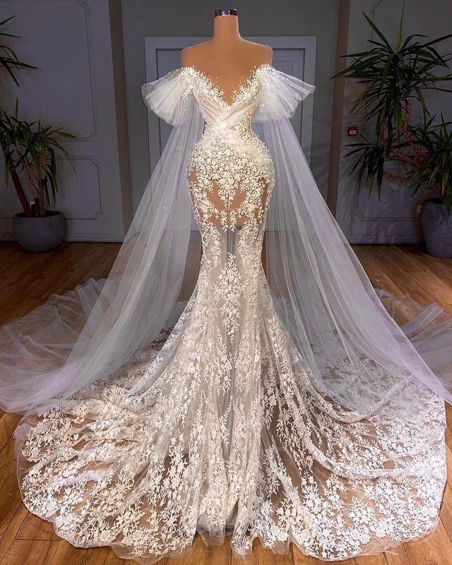 2021 Plus Size Arabic Aso Ebi Luxurious Lace Mermaid Wedding Gowns Sheer Neck See Through Vintage Bridal Dresses ZJ787