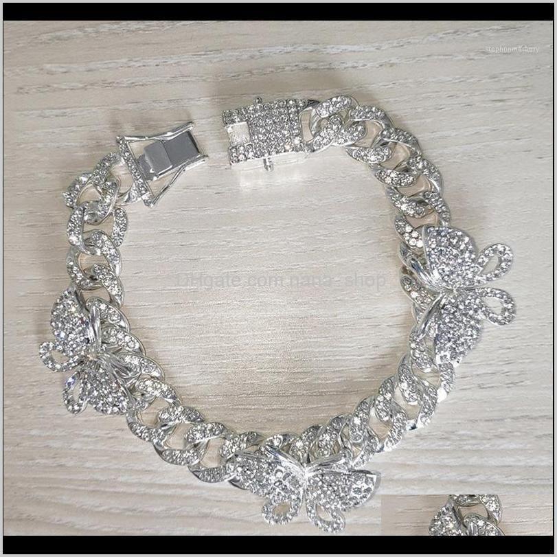 Charm Drop Delivery 2021 Rhinestone Butterfly Ankle Bracelet Cuban Link Chain Anklets For Women Wide Foot Bracelets Beach Jewelry Hh881 Hfn4O