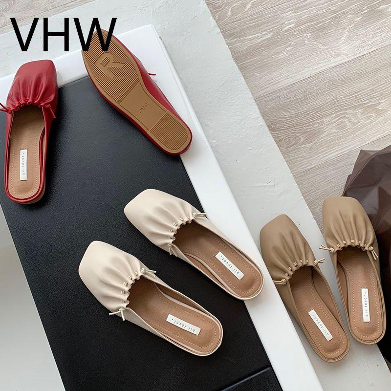 النساء البذور الأحذية 2021 الربيع الصيف الأزياء ساحة مغلقة تو الشقق السيدات البيج الجلود مطوي الصنادل عارضة الإناث النعال