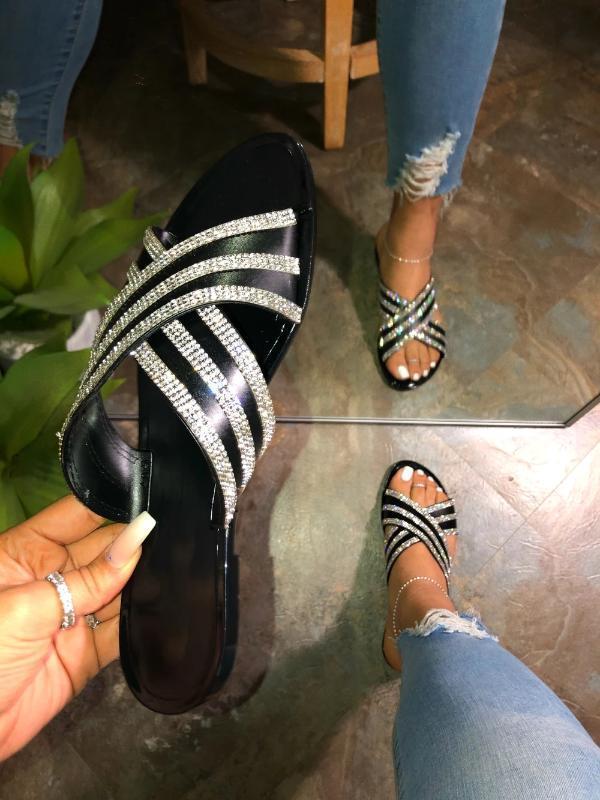 Puimentiua Şeffaf Moda Batım Kristal Terlik Kadın Platformu Yaz Sandalet Açık Rhinestones Düz Ayakkabı