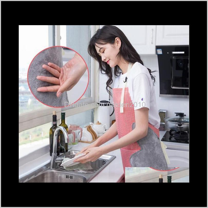 Adjustable Coral Fleece Apron Can Wipe Hands Stripe Loincloth With Pocket Waterproof And Oilproof Cooking Cover Aprons Home Textiles C A0Wkw