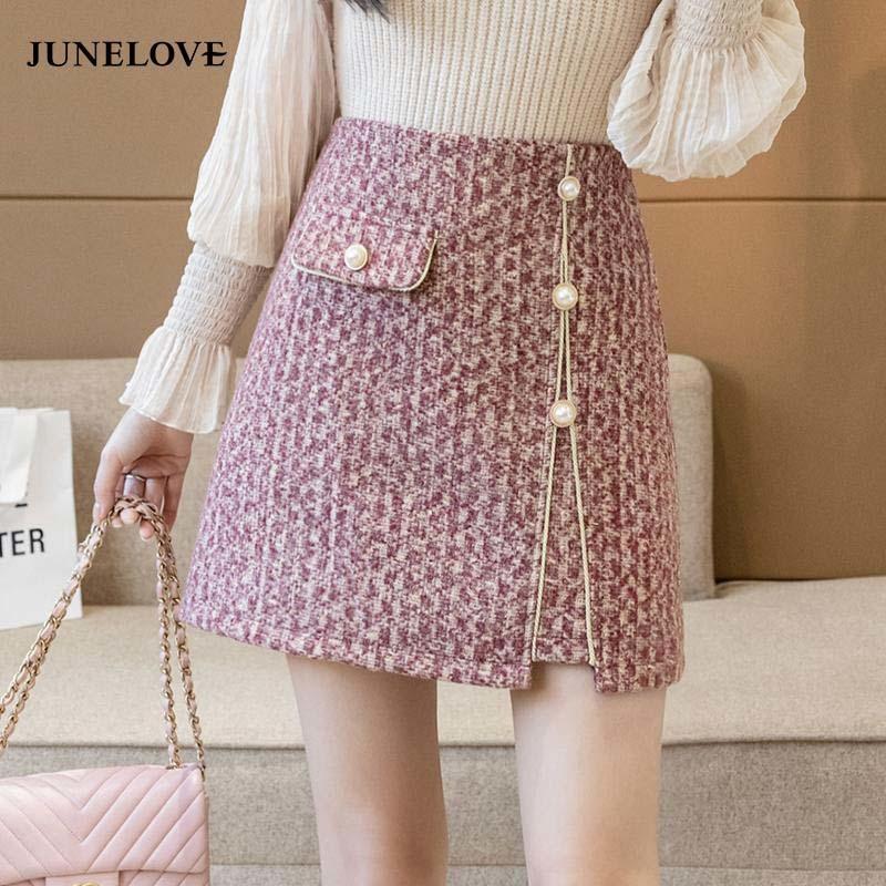 Girly A-Line Tweed Röcke Frauen Rücken Reißverschluss Peal Hohe Taille Vintage Koreanische Stil Büro Lady Mini Bottoms 210512