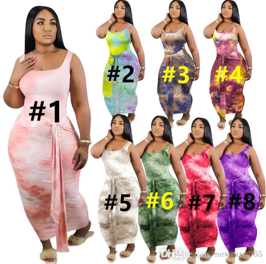 플러스 사이즈 S-4XL 여성 드레스 타이 염료 드레스 패션 스키니 스커트 민소매 맥시 스커트 여름 의류 캐주얼 드레스 무료 배송