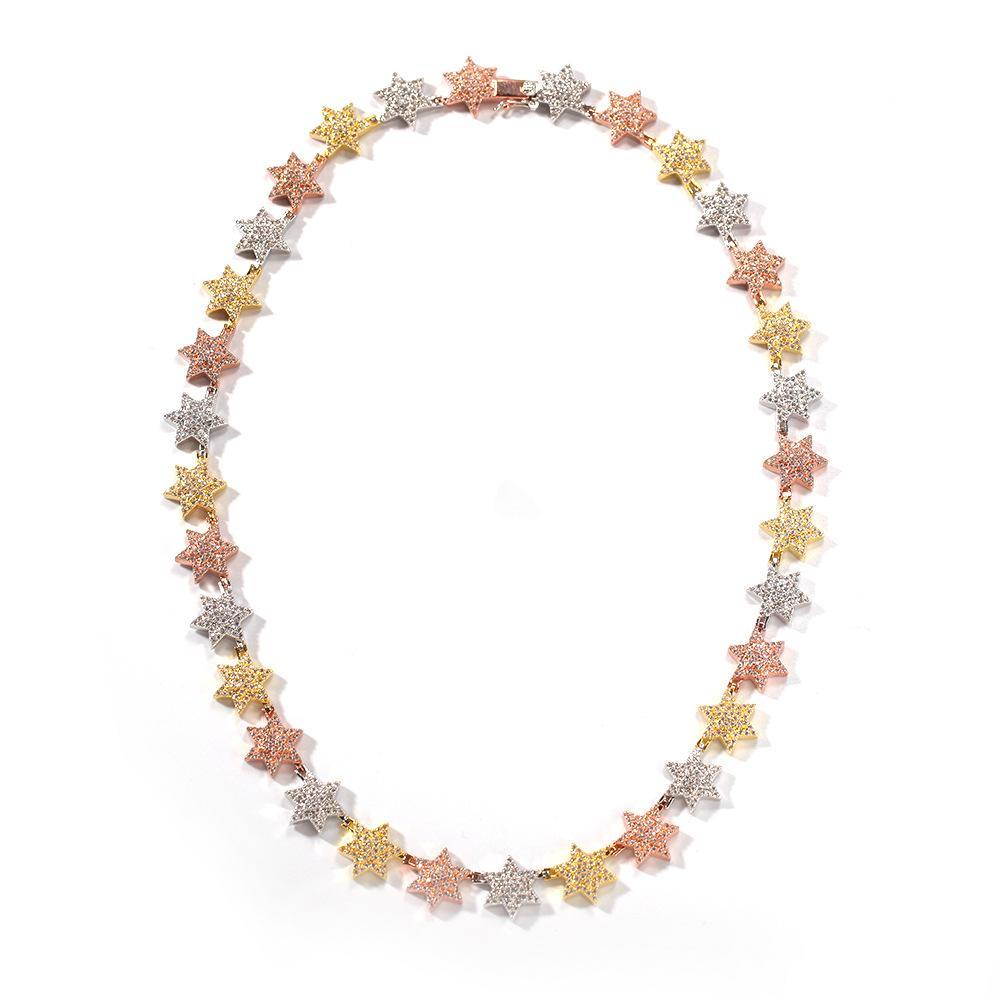 Tennis, collier de tennis d'étoile minimaliste gradué pour hommes femmes or / argent / multicolore cuivre CZ Coup de pierre chaîne hip hop bijoux g
