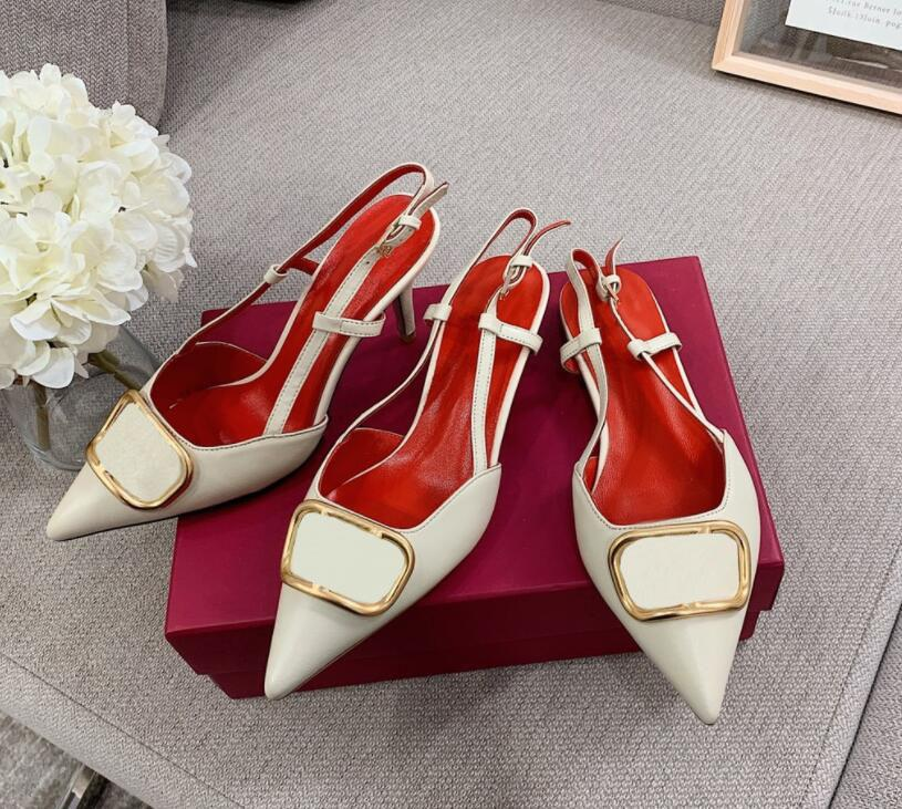 brand shoes women high heel sandal Metal V buckle pointed toe thin heel real leather women wedding shoes 35-43