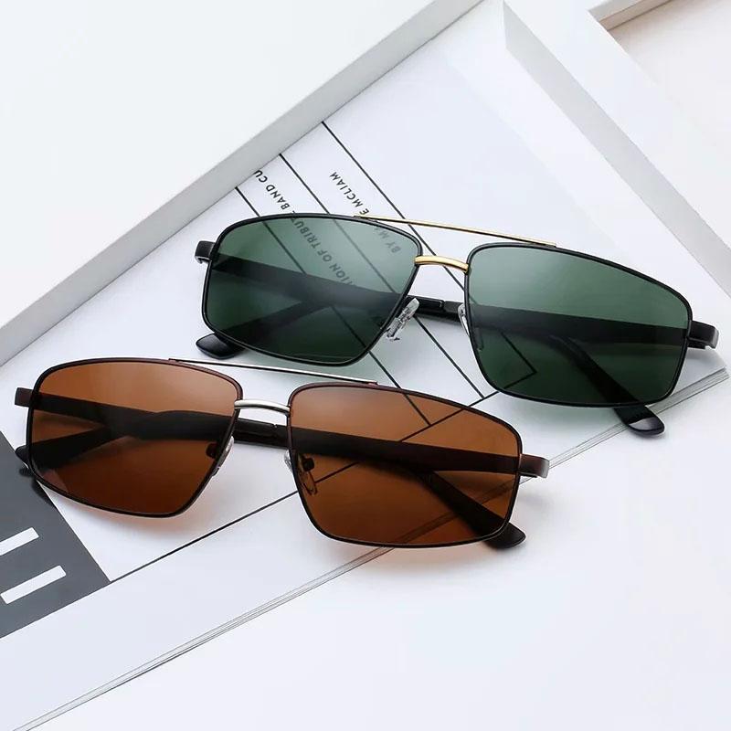 نظارات شمسية ريترو الاستقطاب للرجال ظلال الشمس العدسة داكنة القيادة نظارات 6 اللون الأزرق القهوة العدسات الخضراء الأسود الفضة الذهب إطارات معدنية