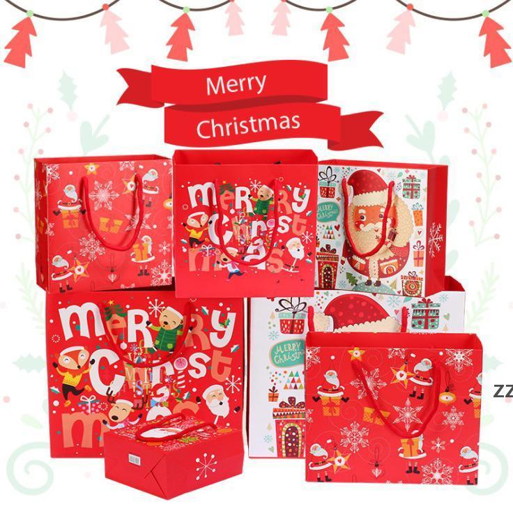 Feliz Navidad Bolsas de regalo de Navidad Árbol de Navidad bolsa de embalaje de plástico Capa de nieve Caja de dulces de Navidad Año Nuevo 2021 Niños Favores Bolsa Decoración HWB10495