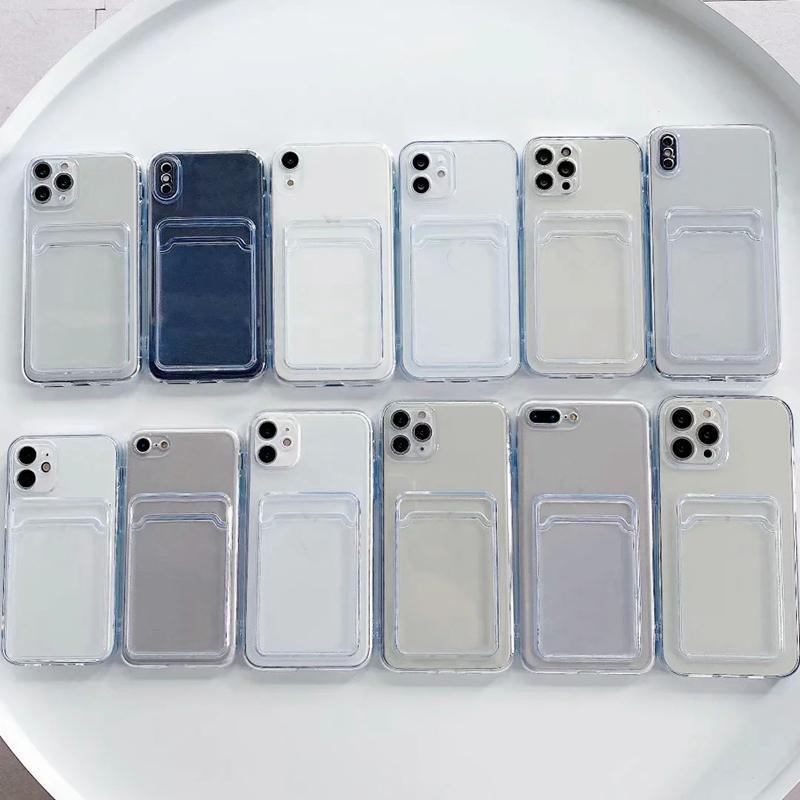 신용 ID 카드 슬롯 포켓 부드러운 TPU 케이스 아이폰 13 프로 최대 12 미니 11 XR X XS 10 8 7 플러스 전화 13 미세 구멍 투명 크리스탈 투명 실리콘 스마트 폰 뒷면 커버