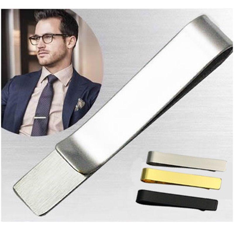 Зажим для галстуки из нержавеющей стали Бары Golden Slim Glassy Geaketie Business Business Accessies Ti01 861 Q2