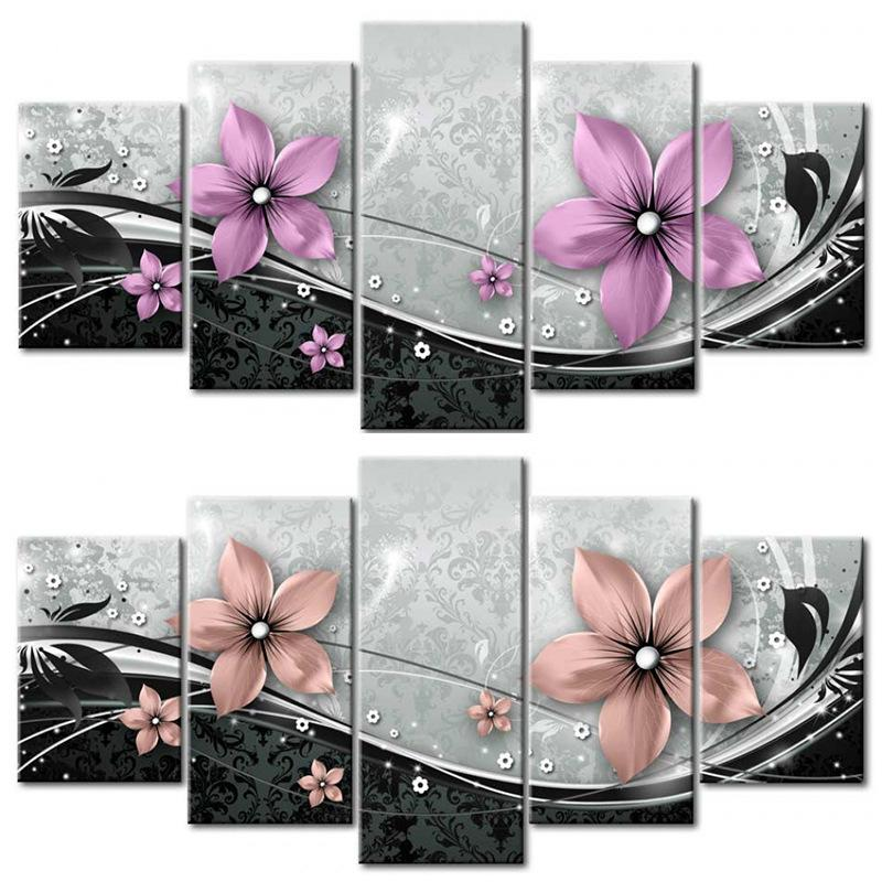 5 PCS/set Modern Prints Flowers Oil Painting on Canvas Wall Art Pictures for Home Living Room Decor (No Frame) 623 S2