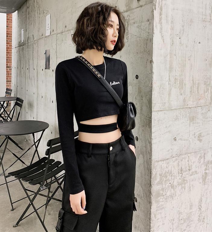 Mangas largas sexy T Shirt para mujer Elasticidad estilo coreano ropa delgada camiseta femenina flaca mujer tops primavera