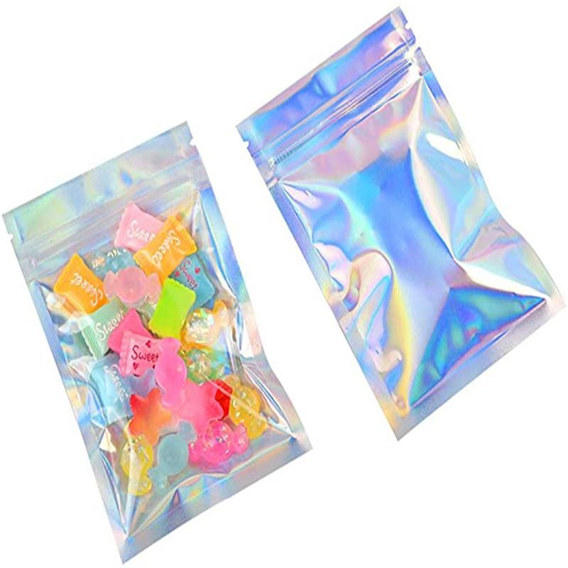 Folha de alumínio Zipper Bag Reserejável Plástico de Embalagem de Embalagem Sacos Holográficos Pacotes Pacote Pacote Para Armazenamento De Café De Alimentos