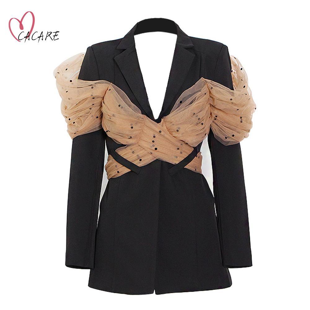 긴 블레이저 여자 2021 가을 새로운 숙 녀 정장 메쉬 장식으로 검은 블레이스. 한국 스타일 재킷 블레이저 Femme F0998 CaCare.