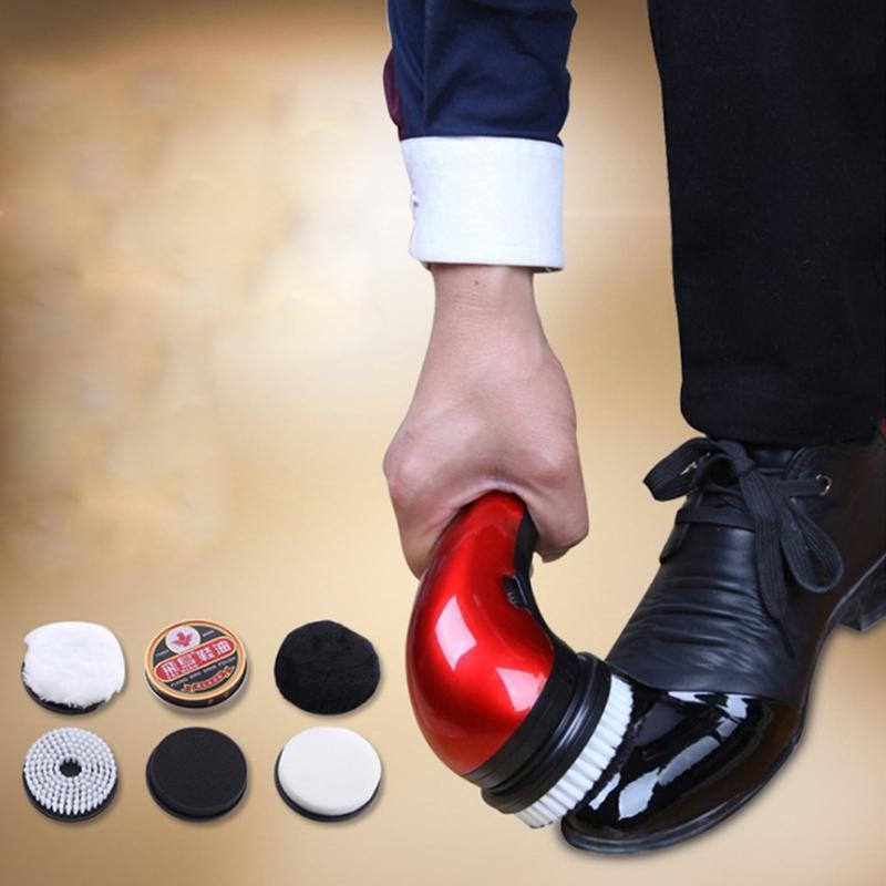 Portable Handheld Automatic Electric Shoe Brush Shine Polisher 2 Ways Power Supply