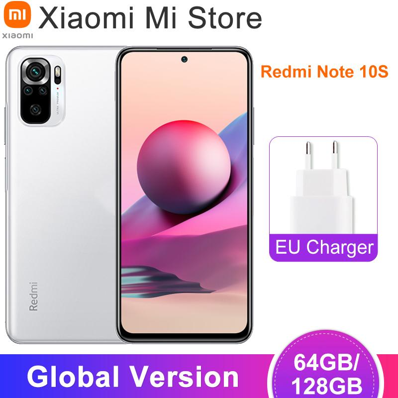 "جلوبيل نسخة Xiaomi Redmi Note 10S NFC Handy Helio G95 Octa Core 64MP رباعية Kamera 6.43 ""AMOLED Bildschirm 5000mAh 33W Lade"