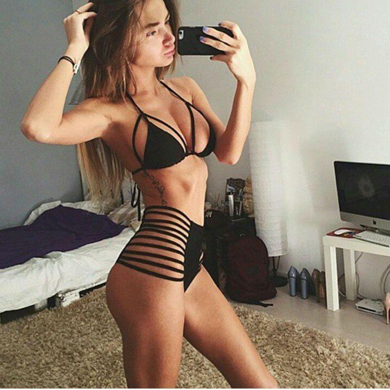 Bikini Swimsuit Sexy Taille High Taille Split Multi Corde Bla