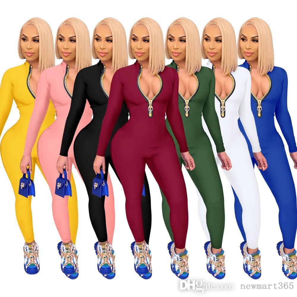 여성 Jumpsuits 새로운 패션 rompers 솔리드 컬러 지퍼 바디 수트 긴팔 바지 원피스