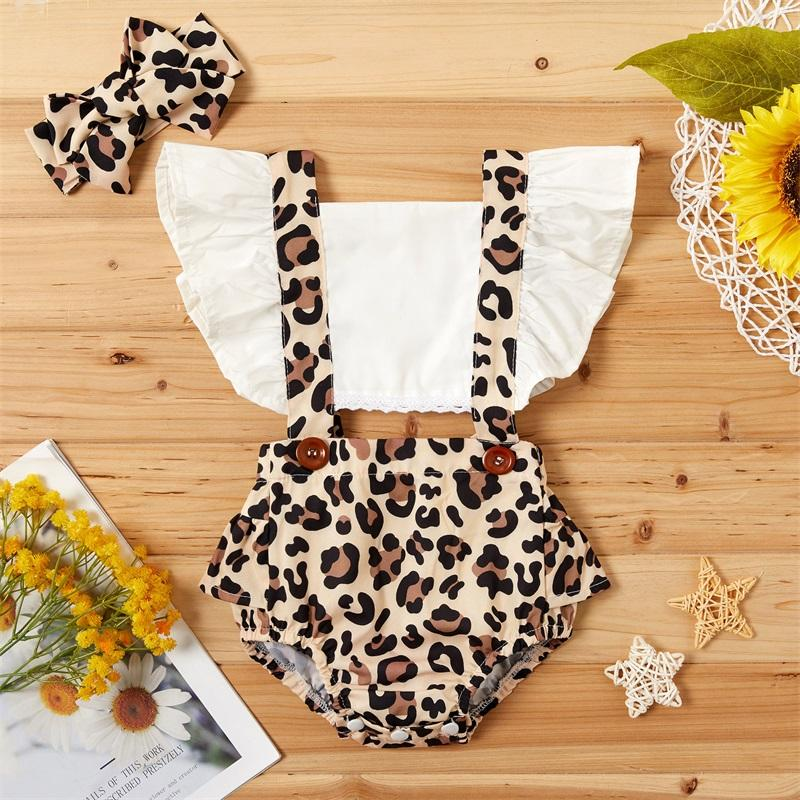 2021 bebê roupas de verão recém-nascido infantil bebê menina roupas leopardo jumpsuit bodyband bodyband 2pcs roupas 1044 x2