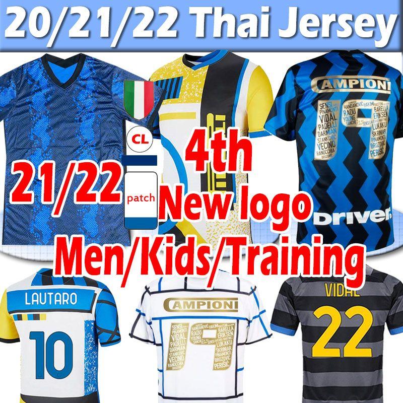 2021 2022 Inter 4th Lukaku Lautaro Alexis Campioni 19 Futbol Formaları 20 21 22 Milan Vidal Barella Erkekler Kids Kits Jersey Eğitim Futbol Gömlek Tayland Üst