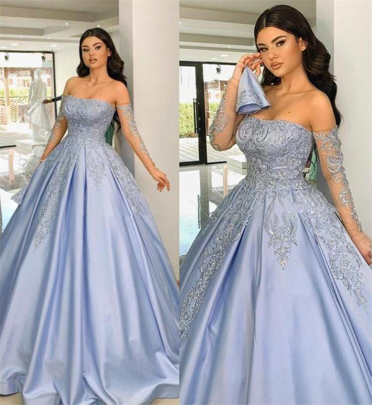 Dulce azul 2022 vestidos de noche vestido de bola princesa apliques corset sin tirantes arriba retroceso de las niñas de la espalda Pageants vestidos individuales mangas largas