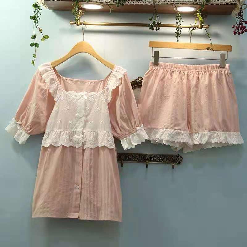 2021 female Sleepwear pure cotton sexy lady suit Korean version of the leisure summer home pajamas