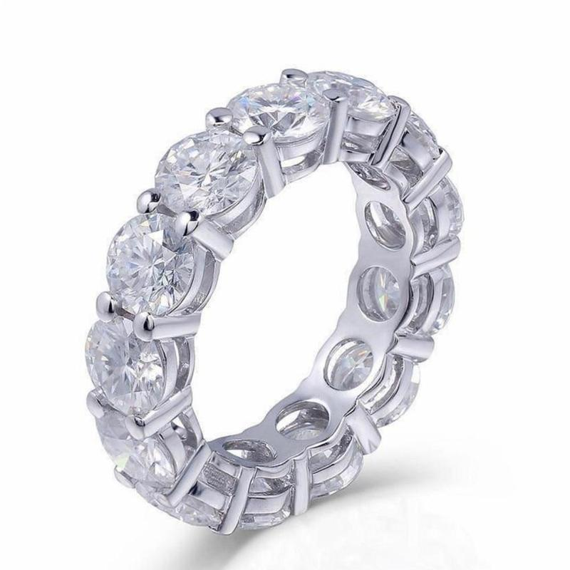 925 Sterling SILVER PAVE SETTING FULL 8mm Round Diamond DIAMOND ETERNITY ENGAGEMENT WEDDING Band Rings For Women JEWELRY
