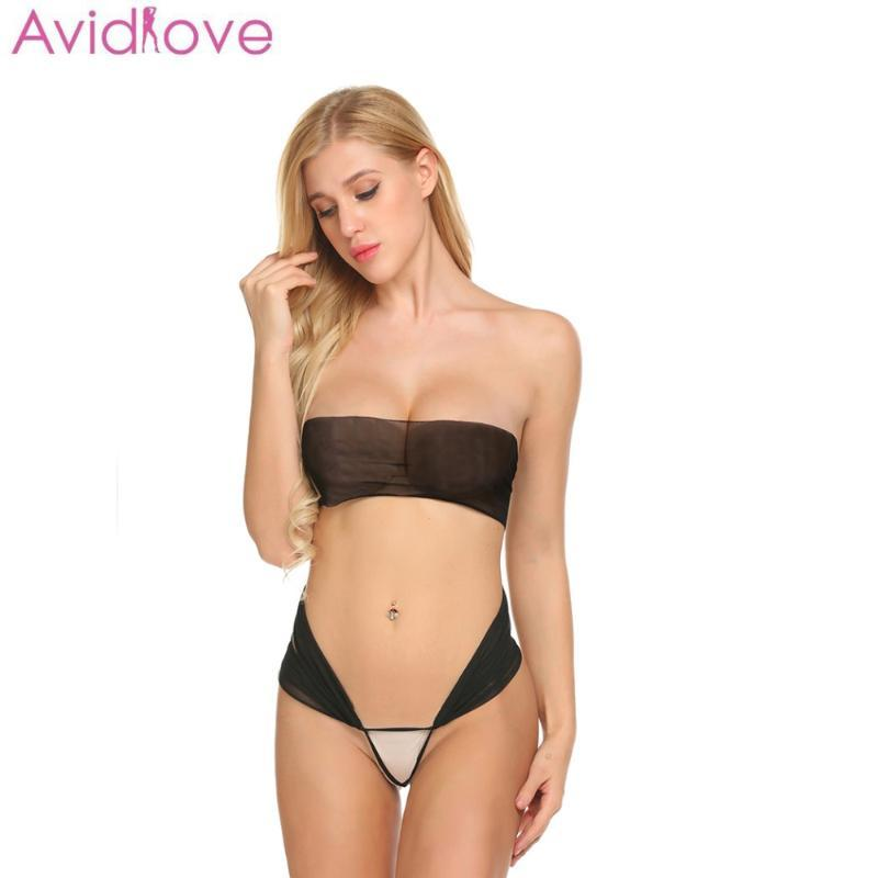 Conjuntos de Bras Avidlove Mulheres Sexy Lingerie Strapless Set Sexo Erótico Transparente Biquini Bra Bra através do Babydoll Peito Envolvido