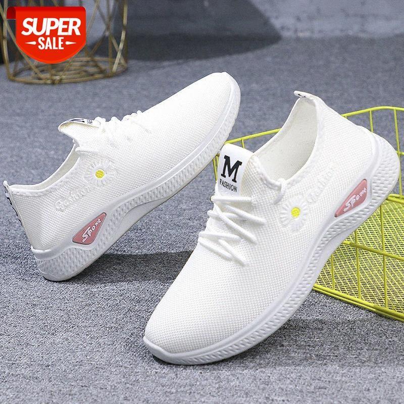 Yeni küçük papatya ayakkabıları, beyaz kadın nefes annesinin kafes tüm maç rahat orta yaşlı ve eski spor ayakkabı # N79C