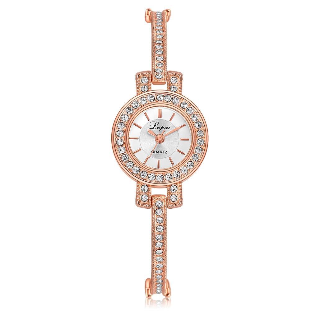 Einfache dünne Legierung Metall Strass Seil Armbanduhren Mode Frauen Damen Weibliche Kleid Quarz Geschenk Party Armbanduhren