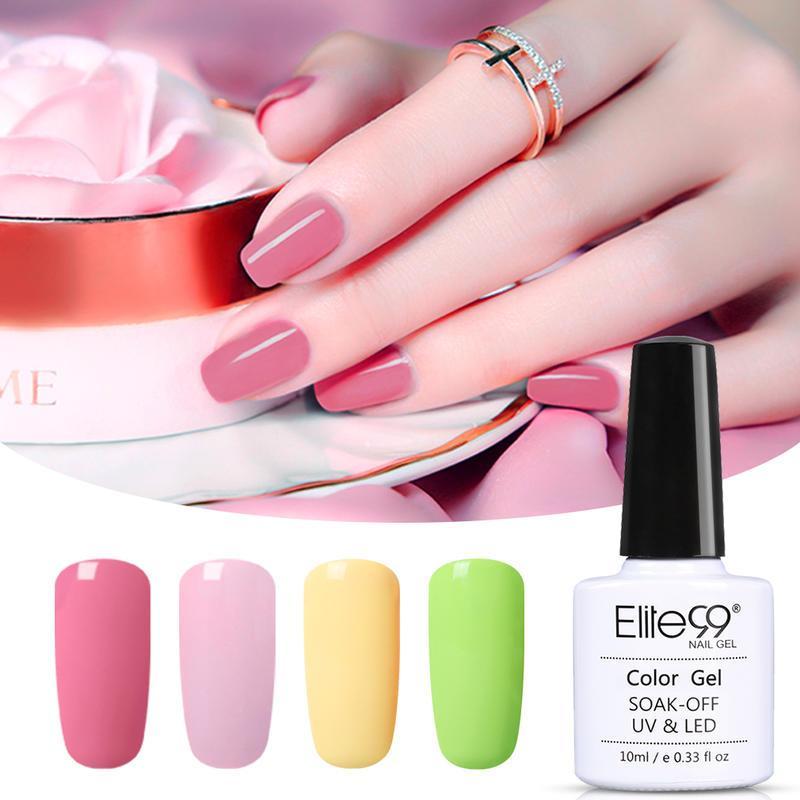 Elite99 4 pcs cor gel polonês soak off uv led diodbre verniz primer gel polonês salão manicure base fosco top casaco 10ml