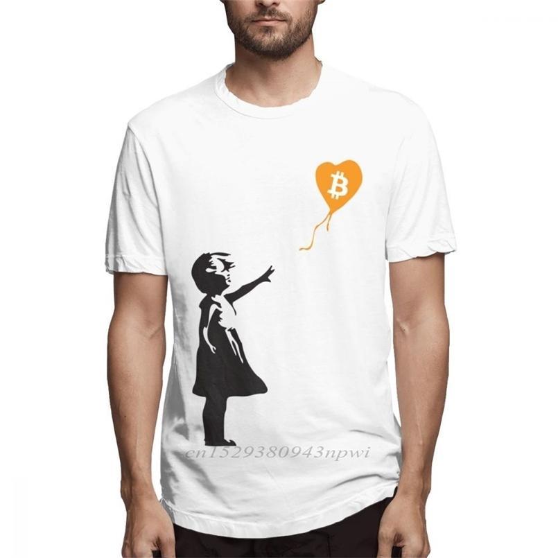 Bitcoin بالون الرجال banksy يحب سلسلة تي شيرت للرجال الصيف عارضة الشارع الشهير 100٪٪ xs-3xl كبيرة الحجم المحملة 210420