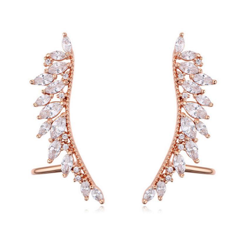 럭셔리 S925 귀 핀 Shinning 마이크로 인 레이드 지르콘 크리스탈 잎 스터드 귀걸이 진짜 골드 고귀한 패션 쥬얼리 액세서리 여성을위한 고품질 독특한 디자이너