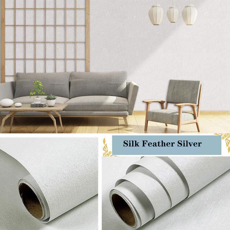 Стены наклейки льняные узор толстые водонепроницаемые из ПВХ самоклеящиеся обои Мгновенная белая стикер спальня гостиная фона размер 10 м * 45см