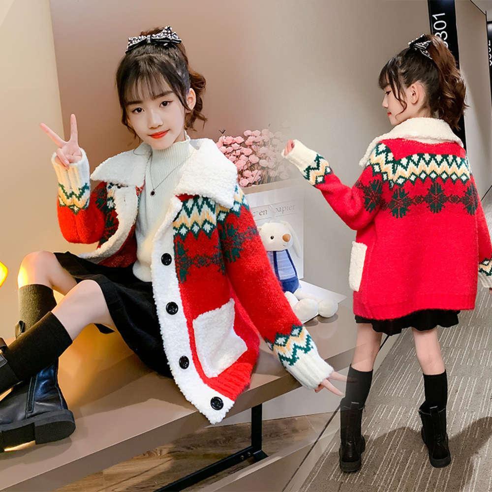 Толстовки для толстовок Физические Стрелки Кардиганские Девушки Корейский модный вязальный свитер Осень и зимняя одежда Чжунда Детский иностранный SLOW