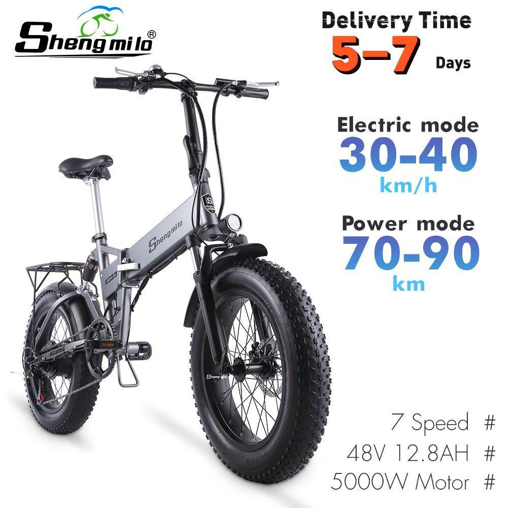 AB ShengMilo MX21 20 inç Şehir Katlanabilir Elektrikli 500 W Dağ Bisikleti 4.0 Yağ Lastik Bisiklet 48 V E-Bike Beach Cruiser
