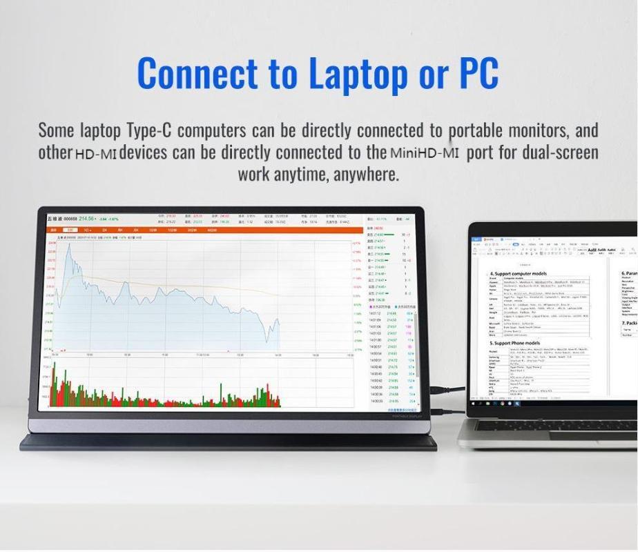 Monitore 3840x2160 Monitor Portable 15,6 cm Telefon USB C Gaming 4K IPS PC -Compatible Screen UHD-Anzeige für den Schalter PS4-Laptop