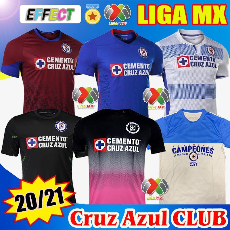 2021 Club Cruz Azul Soccer Jerseys 20/21 Champions Blue Blanc Accueil Troisième Chemises de football rouges Liga MX Camisetas de Futbol Kit Jersey de Goalkepeer