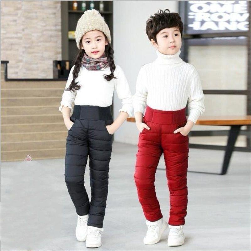 Bambino bambino ragazzi ragazze pantaloni invernali pantaloni in cotone imbottito spesso pantaloni caldi impermeabili pantaloni da sci impermeabili 9 10 anni 12 anni leggings a vita alta bambino 130 B3
