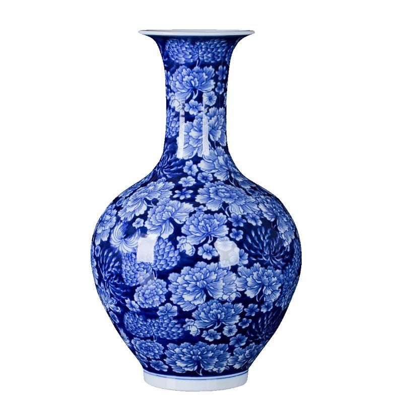 Vase Jingdezhen Céramiques Antiques peintes à la main bleu et blanc Vase de style chinois Ameublement et salle de séjour