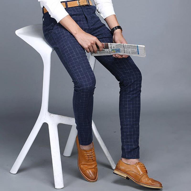 브랜드 바지 남성 캐주얼 바지 격자 무늬 작업 4 색 가을과 겨울 슬림 피트 비즈니스