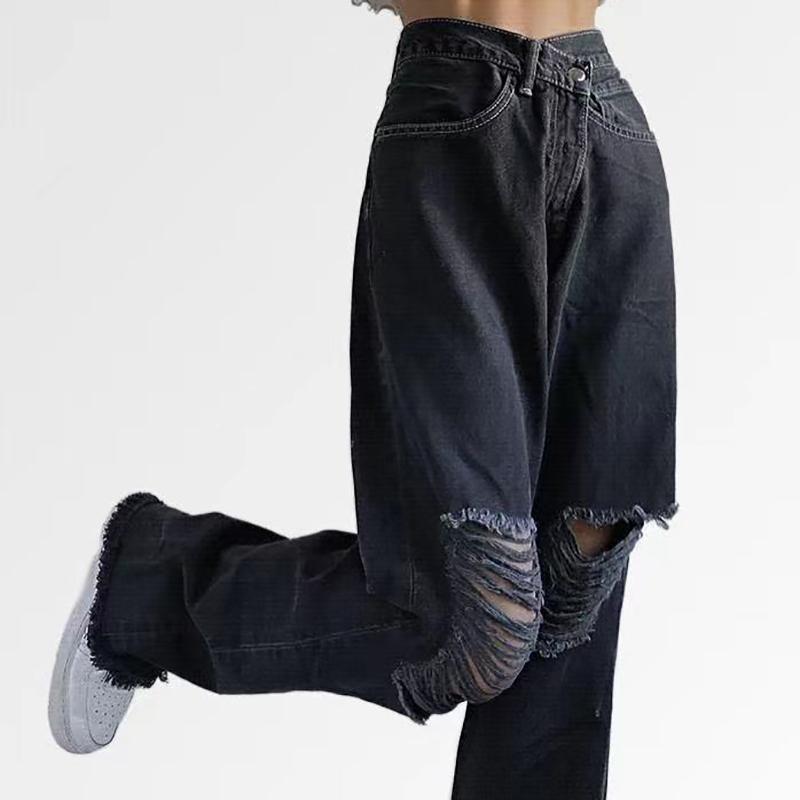 Mulheres jeans mulheres streetwear preto y2k buraco rasgado mulher reta sarsa calça calça casual calças boyfriend style backgy