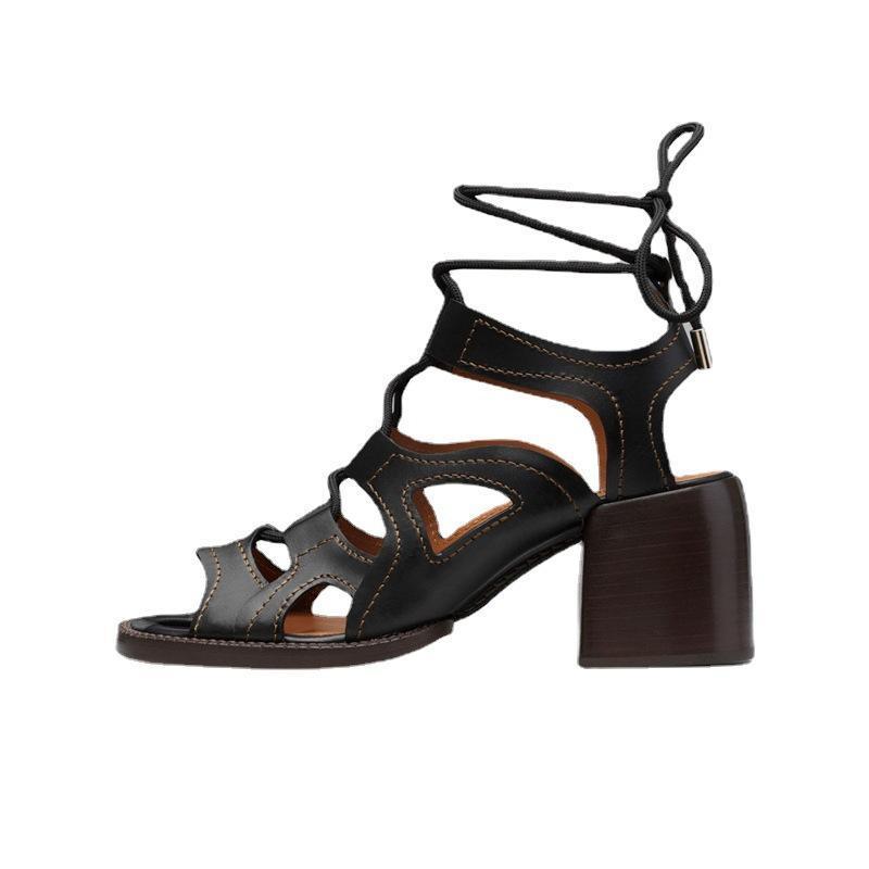Elbise Ayakkabı Yaz Dantel-up Roma Sandalet Kadınlar Casual Oymak Yüksek Topuklu Deri Kalın Sandalias de Las Mujeres