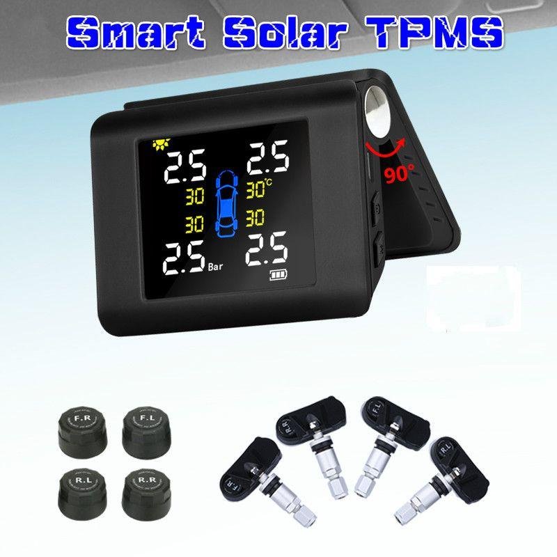 Big Screen-Einstellwinkel Smart Solar USB-Stromreifen Drucküberwachungssystem mit 4 Sensoren LCD-Echtzeit-Anzeige Autoreifen Auto Alarm Safe Fahren Begleiter